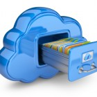 File storage in cloud. 3D computer icon isolated on whiteFile storage in cloud. 3D computer icon isolated on white