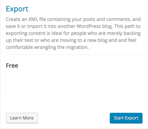 Wordpress blog Export Step 2