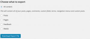 Wordpress Blog Exporting Options