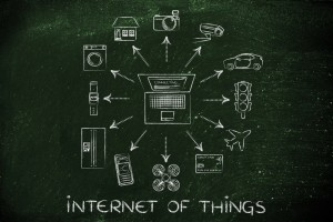 Internet of things outlined on chalk board