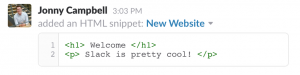 Code Snippet from Slack