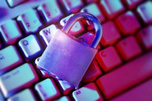 A closed lock on a keyboard