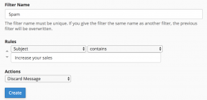 Example email filtering on Cpanel